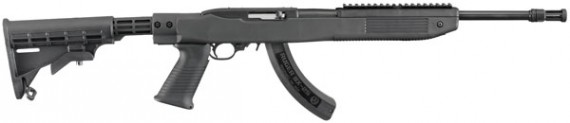 Ruger 1283 10/22 Semi-Automatic 22 Long Rifle 18.5″ Tapco Black Stock 25rd Flashhider