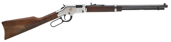 New! Henry H004AB Engraved American Beauty Lever 22S/L/LR 20″ 16+1 Walnut Stock Nickel/Gold Engraved Receiver