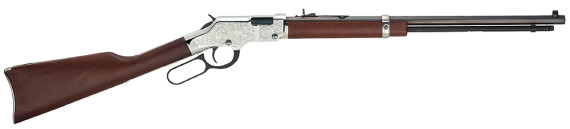 "New! Henry H004SEV Silver Eagle Lever 17HMR 20.0″ 12+1 Walnut Stock Nickel ""Silver"" Engraved Receiver"