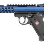 New! Ruger MK IV Lite Blue Slotted Slide 10+1 Top Rail Poly Black Grips 22 Long Rifle 4.4″ Checkered Grips Threaded Barrel – 2 Magazines – Case