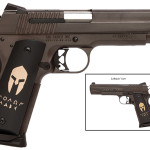 "New! SIG 1911 SPARTAN – 45 ACP 5″ 8+1 – Bronze Nitron Finish – Hogue Spartan Grips ""Molon Labe"" on Slide and Grips and Spartan Helmet on Grips"