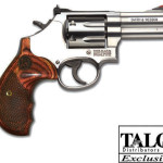 Back in Stock TALO Model!  Smith & Wesson 150713 Model 686 Deluxe 357 Mag 3in 7rd – Adjustable White Outline/Red Ramp Sights Stainless Steel – Satin Finish – Textured wood grips