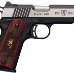 Finally Back in Stock! Browning 051915492 1911-380 Black Label Medallion Compact SA 380 ACP 4.25″ 8+1 Rosewood with Gold Buckmark Inlay Grips – Black Frame Stainless Steel Slide – Night Sights