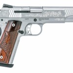 New! Smith & Wesson 10270 1911 Engraved 45 ACP 5in 8+1 Laminate Wood Grip Stainless Steel – 2 Mags – Presentation Case