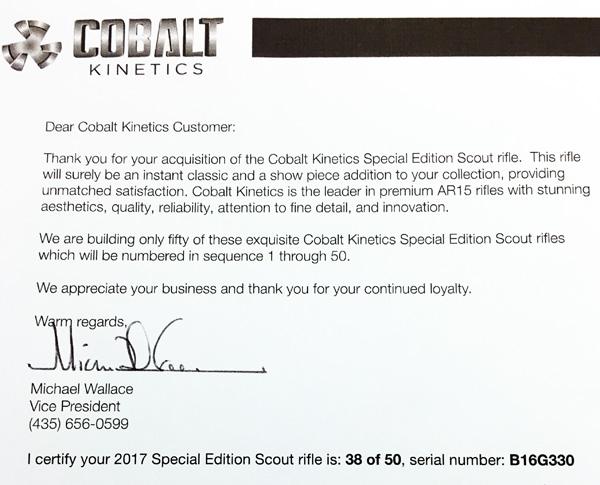 Limited Edition Letter of Authenticity