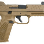 Back in Stock! FN 66100373 FN-509 Tactical 9mm 4.5 Threaded 17+1 or 24+1 Low Profile Optics Mounting System – Tall Night Sights- Striker – FDE – One 17-round and two 24-round mags – Interchangeable Backstraps – Soft Case