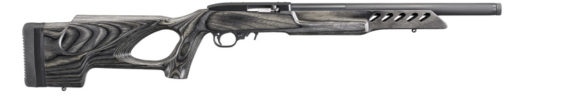 New! RUGER® 10/22® 21186 TARGET LITE 22LR – Threaded – Grey and Black Laminated wood target stock with thumbhole