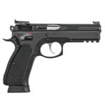 New! CZ 75 SP-01 Shadow Target II Semi-Automatic DA/SA 9mm 18 Rounds – Full Size 4.6″ Cold Hammer Forged Barrel – Steel Frame with Rail – Black Finish – Thin Aluminum Checkered Grips – Tuned Trigger – Ambi Safety – Adjustable Target Rear/Fiber Optic Front Sights – 3 18rd Magazines