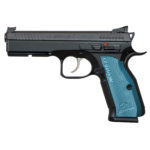 Back in Stock! CZ's Shadow 2 Blue Single/Double 9mm 4.9 in 17+1 – Fiber Optic Front – Adjustable Rear Sights – Blue Aluminum Grip Black Nitride 3 Magazines