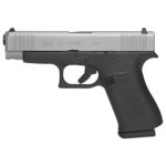 New for 2019! Glock 48 AMERIGLO – 9mm Compact 4.17″ 10+1 Silver Slide – Integral Grip Black Frame – Ameriglo Bold Night Sights – 2 10rd Magazines
