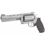 Back in Stock! Taurus 2-513069 513RJ 45 Colt/410/454 Casull – Raging Judge Magnum Single/Double 6.5 in 6 rd Black Ribber Grip  – Stainless Steel