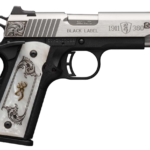 Finally in Stock! Browning 051967492 LIMITED EDITION 1911-380 Medallion Compact 380 ACP 3.63″ Engraved Stainless Slide 8+1 Matte Black White Pearl Engraved Grips – 2 magazines and Pouch