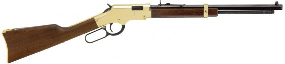 Back in Stock! Henry H004Y Golden Boy YOUTH Lever 22 LR 16.25″ 12+1 Walnut Stock Polished Brass Receiver