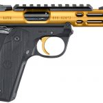 Back in Stock! Ruger 43926 MK IV Gold Ventilated Slide 10+1 Top Rail Poly Black Grips 22 Long Rifle 4.4″ Checkered Grips Threaded Barrel – 2 Magazines – Case