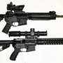 "This couple bought a ""his and hers"" tactical set. His (top) a LWRC 14.7 inches fluted with a Trijicon ACOG with RMR, hers (bottom) a Wilson Urban Tactical Carbine with the amazing Leopold Mark 8 1-8 scope."