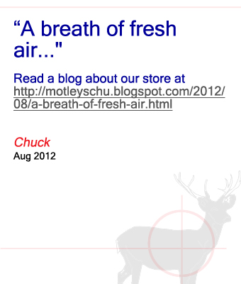 Blog about our store from Chuck - August 2012