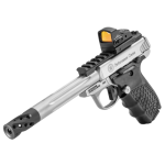 """Back in Stock! Smith & Wesson 12079 Performance Center Victory Target, SA, 22LR, 6in Fluted Barrel with Muzzle Brake, Stainless Steel, Glass Bead Finish, Vortex Viper Red Dot, Tandemkross """"hiveGrips"""" with Target Thumbrest Grip, 10 Rounds, 2 Magazines, Thumb Safety"""