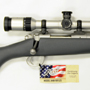 The ultimate varminter. A Kimber Montana in 223 Remington with the Zeiss Conquest 6.5-20x50 ZVar reticle with a stainless finish. The complete scoped rifle weighed 6 pounds and 15 ounces!