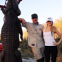 He was able to bag this 13.5 ft. alligator with a single 308 shot of the Steyr. Eyes on the alligator please!